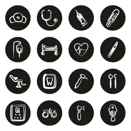 Medical Equipment or Medical Device Icons Freehand White On Black Circle