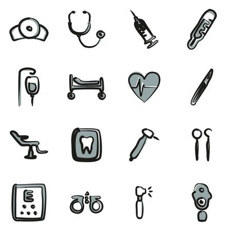 Medical Equipment or Medical Device Icons Freehand 2 Color