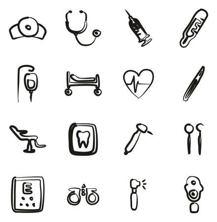 Medical Equipment or Medical Device Icons Freehand