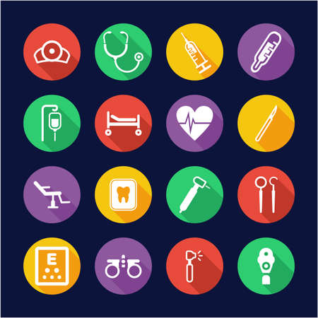Medical Equipment or Medical Device Icons Flat Design Circle