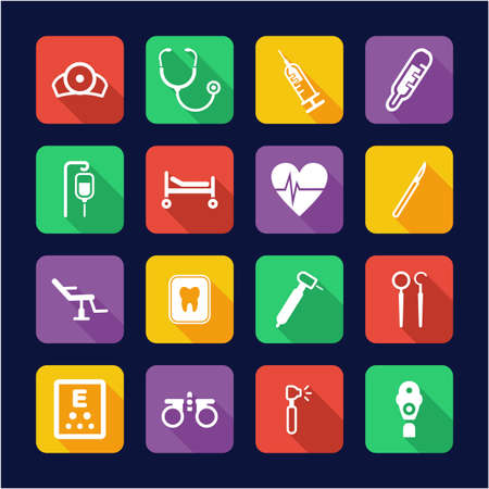 Medical Equipment or Medical Device Icons Flat Design
