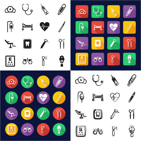 Medical Equipment or Medical Device Icons All in One Icons Black & White Color Flat Design Freehand Set Illustration