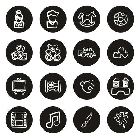 Kindergarten or Day Care Icons Freehand White On Black Circle