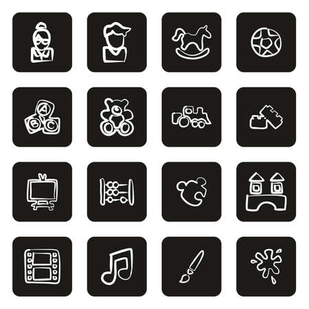Kindergarten or Day Care Icons Freehand White On Black Vecteurs