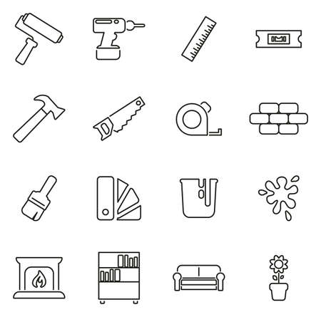 Home Decorating or Home Remodeling Icons Thin Line Vector Illustration Set