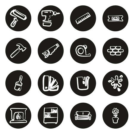 Home Decorating or Home Remodeling Icons Freehand White On Black Circle Illustration
