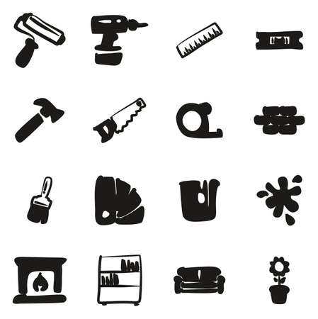 Home Decorating or Home Remodeling Icons Freehand Fill