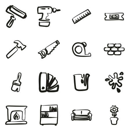 Home Decorating or Home Remodeling Icons Freehand 2 Color