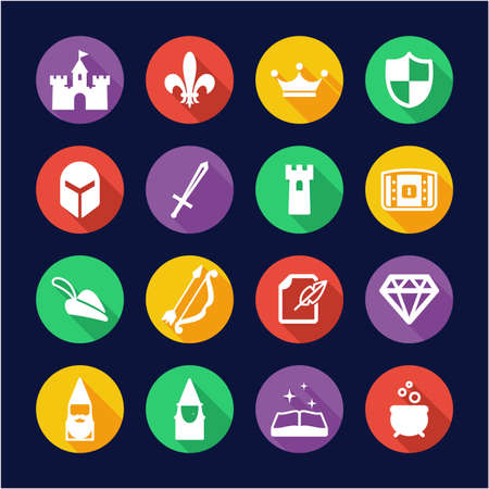Fantasy or Fairytale Icons Flat Design Circle 向量圖像