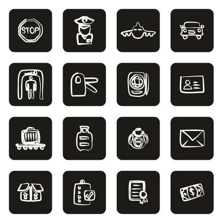 Customs or Duty Icons Freehand White On Black Illustration