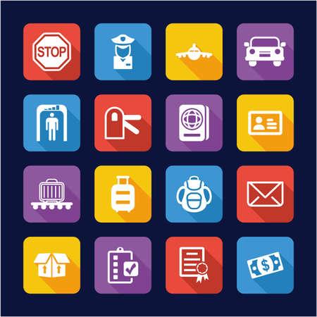 Diseño plano de iconos de aduanas o deber