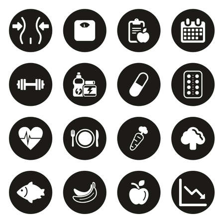 Diet or Weight Watch Icons White On Black Circle Vettoriali