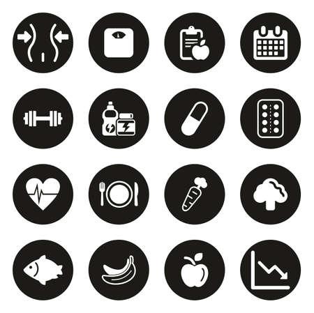 Icone dell'orologio dieta o peso bianco su cerchio nero Vettoriali