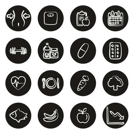 Diet or Weight Watch Icons Freehand White On Black Circle