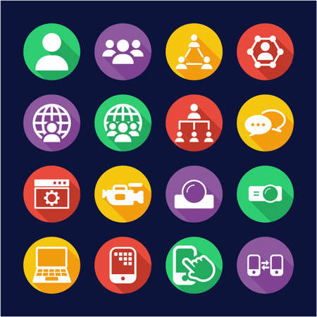 Video Conference Icons Flat Design Circle 矢量图像