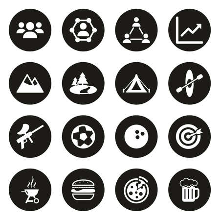 Team Building Icons White On Black Circle