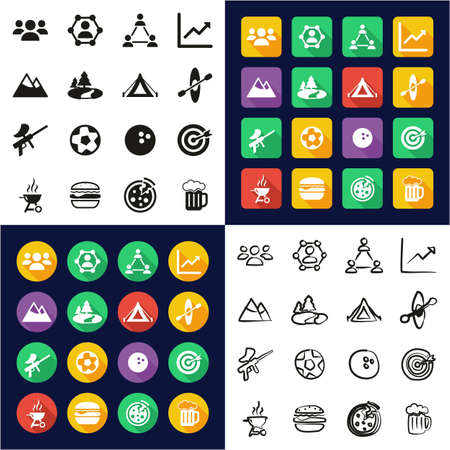 Team Building Icons All in One Icons Black & White Color Flat Design Freehand Set