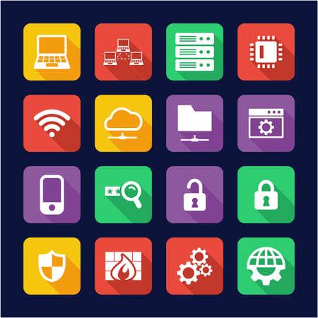 System Administrator Icons Flat Design Vektoros illusztráció
