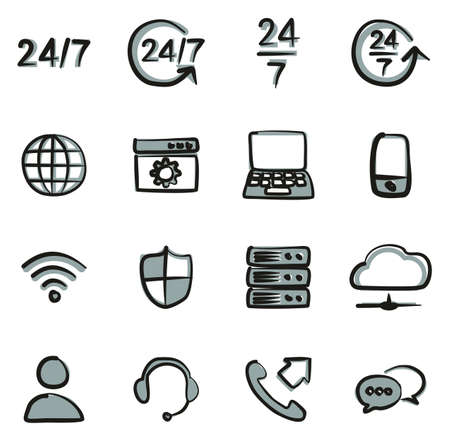 Nonstop Service or 247 Service Icons Freehand 2 Color