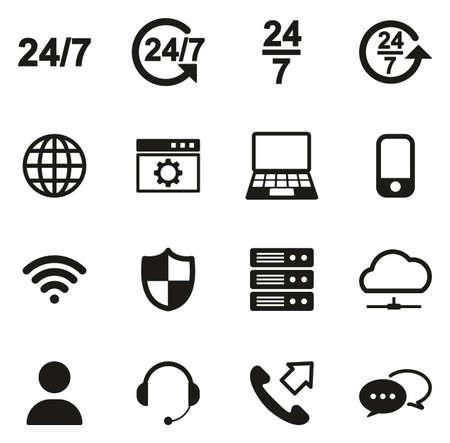 Nonstop Service or 247 Service Icons Vettoriali