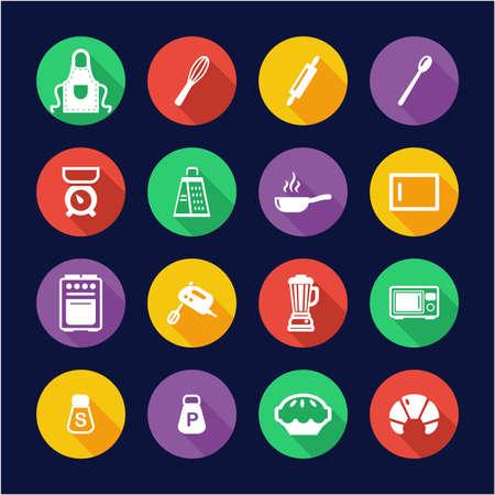 Baking or Cooking Icons Flat Design Circle