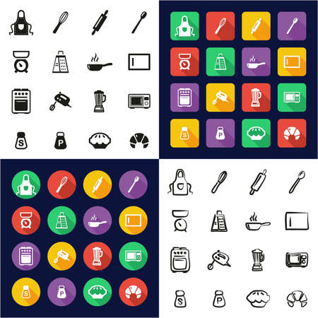Baking or Cooking Icons All in One Icons Black & White Color Flat Design Freehand Set Çizim