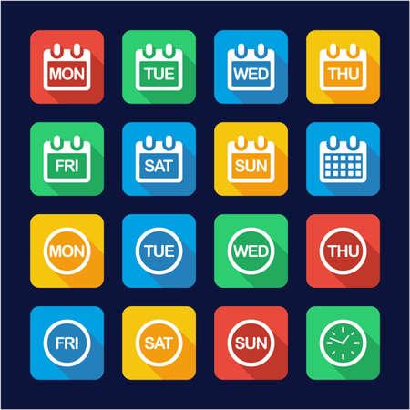 Tage der Woche Icons flaches Design Vektorgrafik