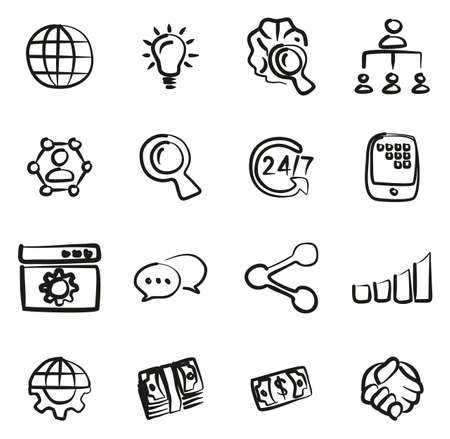 Crowdfunding Campaign Icons Freehand