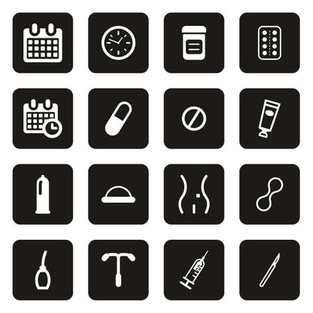 Contraception Methods Icons White On Black