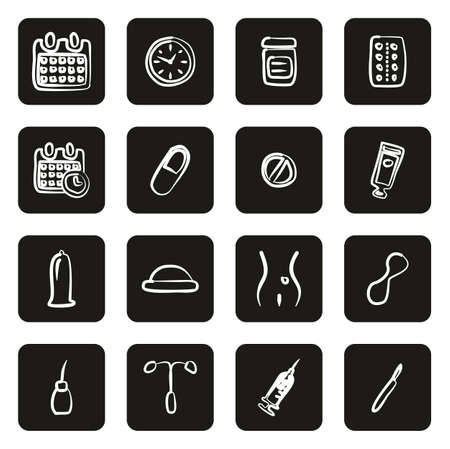 Contraception Methods Icons Freehand White On Black