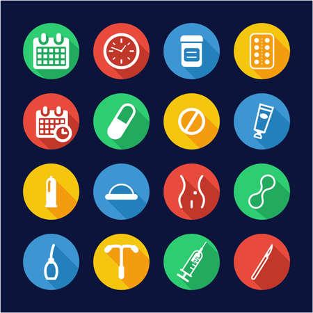 Contraception Methods Icons Flat Design Circle Illustration