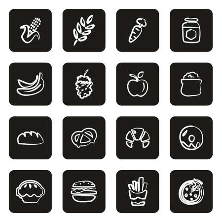 Carbohydrate Food or Carbs Food Icons Freehand White On Black Vecteurs