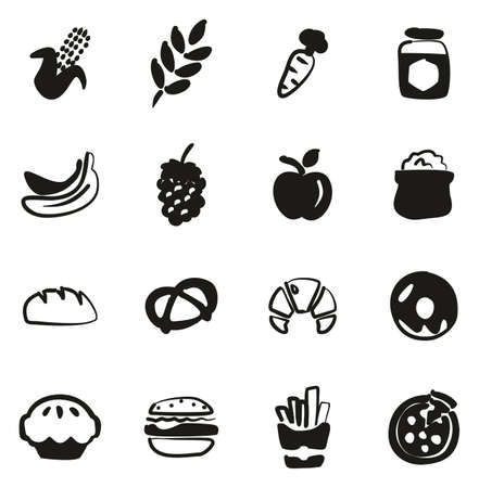 Carbohydrate Food or Carbs Food Icons Freehand Fill