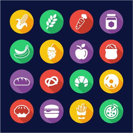 Kohlenhydrat-Essen oder Kohlenhydrate Essen Icons Flat Design Circle