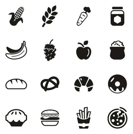Carbohydrate Food or Carbs Food Icons Illustration
