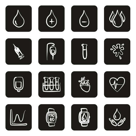 Blood or Blood Pressure Icons Freehand White On Black