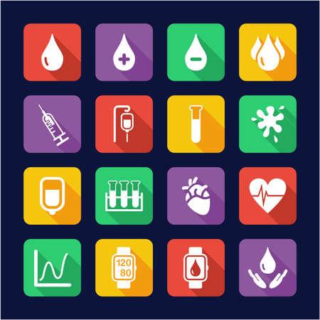 Blood or Blood Pressure Icons Flat Design Illustration