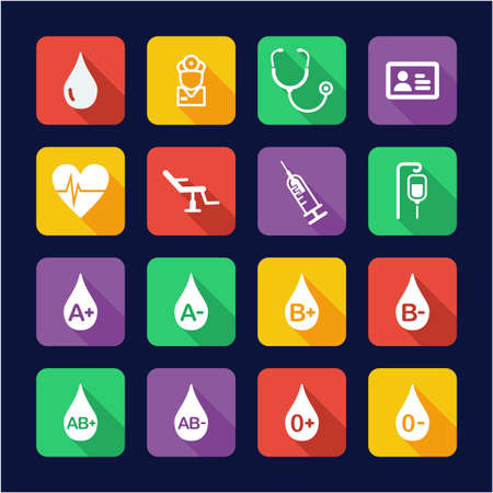 Blood Donation or Blood Type Icons Flat Design Illustration