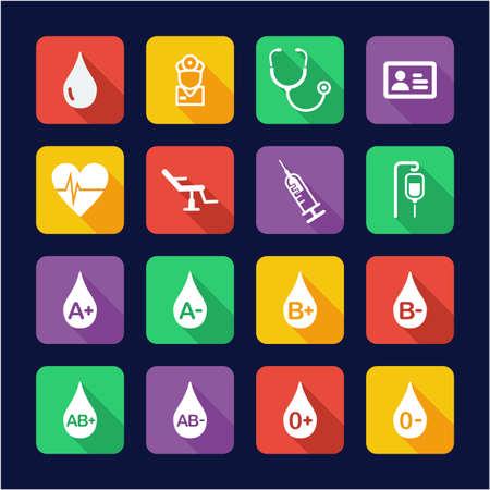 Blood Donation or Blood Type Icons Flat Design Illustration