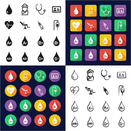 Blood Donation or Blood Type Icons All in One Icons Black & White Color Flat Design Freehand Set