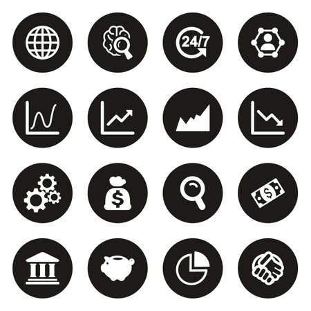 Global Economy Icons White On Black Circle