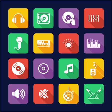 DJ or DJ Equipment Icons Flat Design