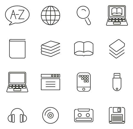 Dictionary or Glossary Icons Thin Line Vector Illustration Set