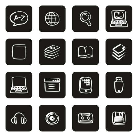 Dictionary or Glossary Icons Freehand White On Black