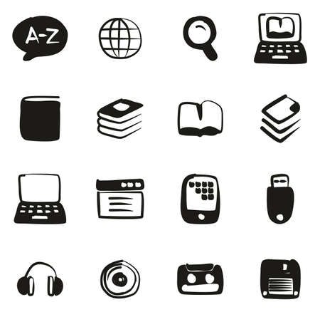 Dictionary or Glossary Icons Freehand Fill Imagens - 119288187