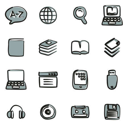 Dictionary or Glossary Icons Freehand 2 Color