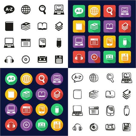 Iconos de diccionario o glosario Iconos todo en uno Color blanco y negro Diseño plano Conjunto a mano alzada
