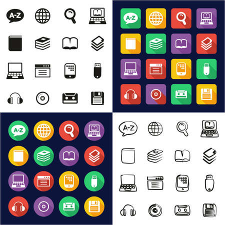 Wörterbuch oder Glossar Icons All in One Icons Schwarz-Weiß-Farbe Flat Design Freehand Set