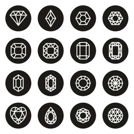 Diamonds or Diamond Shapes Icons White On Black Circle Ilustração