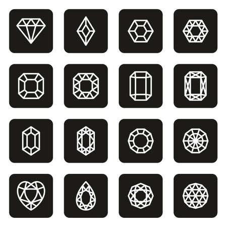 Diamonds or Diamond Shapes Icons White On Black